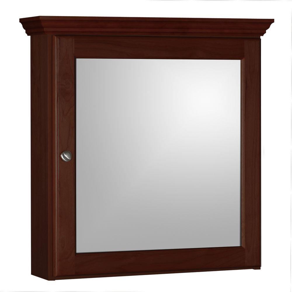 Ultraline 24 in. W x 27 in. H x 6-1/2 in. D Framed Surface-Mount Bathroom Medicine Cabinet in Dark Alder