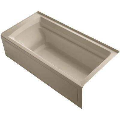 Archer VibrAcoustic 6 ft. Right Drain Soaking Tub in Mexican Sand with Bask Heated Surface