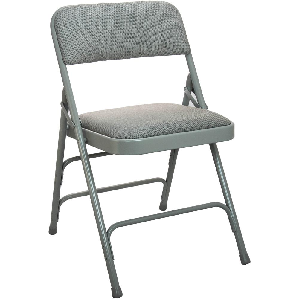 Chairs At Home Depot: Advantage 1 In. Grey Fabric Seat Padded Metal Folding