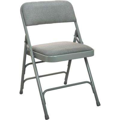 1 in. Grey Fabric Seat Padded Metal Folding Chair