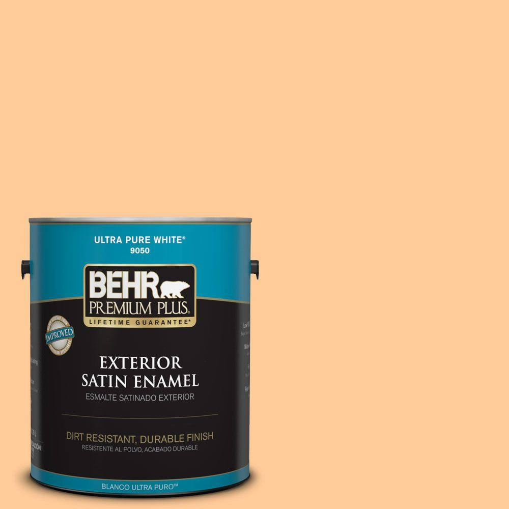 BEHR Premium Plus 1-gal. #280B-4 Apricot Light Satin Enamel Exterior Paint