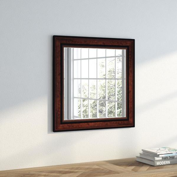 23.5 in. x 23.5 in. Country Pine Square Vanity Wall Mirror