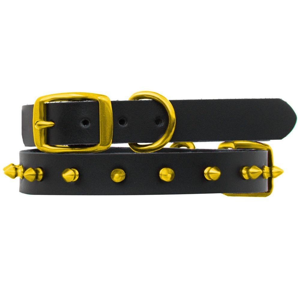 Platinum Pets 14.25 in. Black Genuine Leather Dog Collar in Lime Spikes