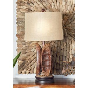 29 inch Brown Boat Design Table Lamp with Beige Drum Shade