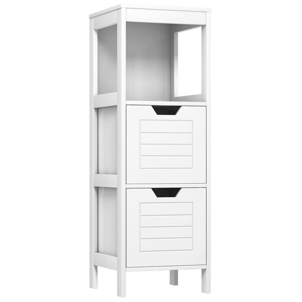 Multifunction White Storage Rack Stand Organizer Bathroom Wooden Floor Cabinet
