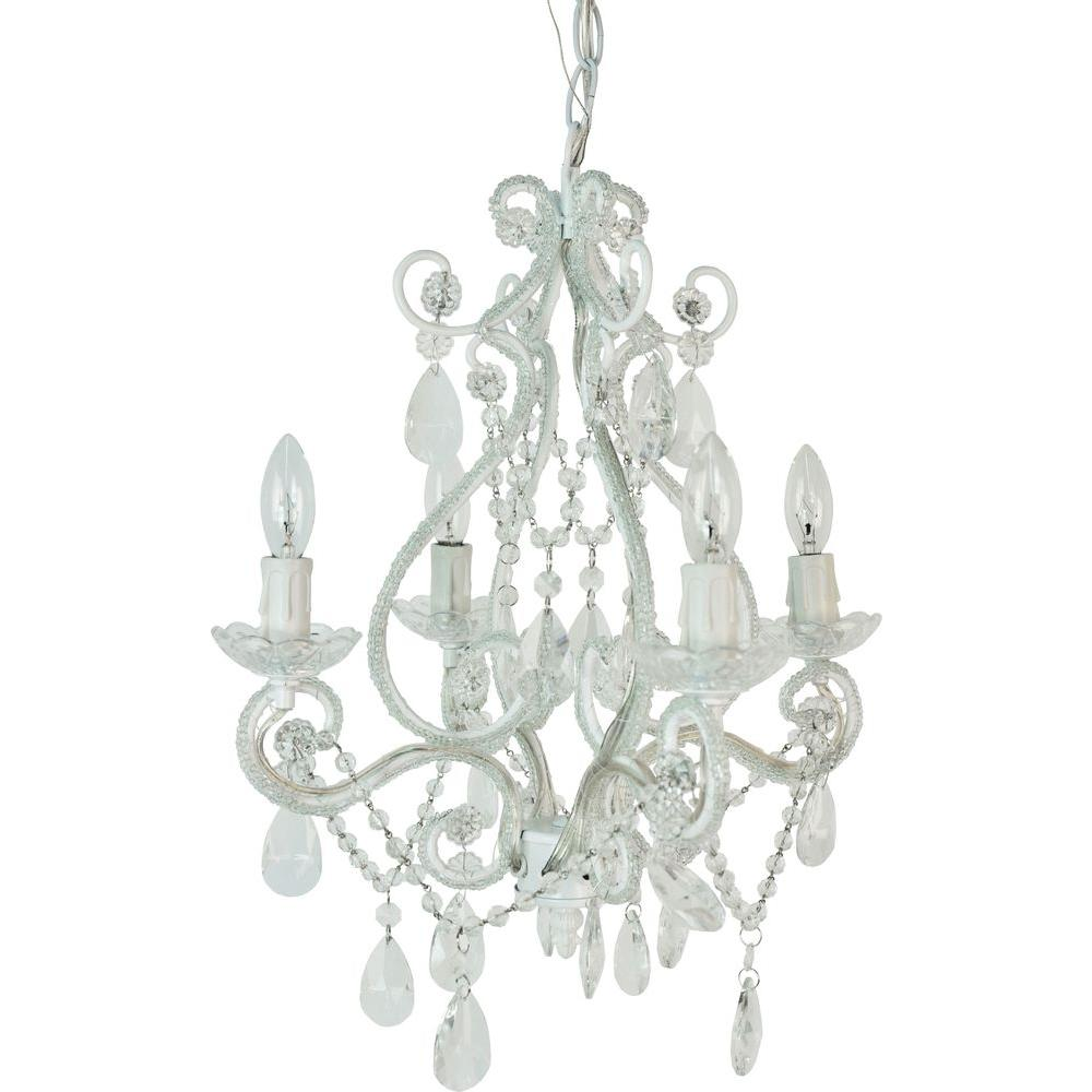 Plug in chandeliers lighting the home depot 4 light white mini chandelier arubaitofo Image collections