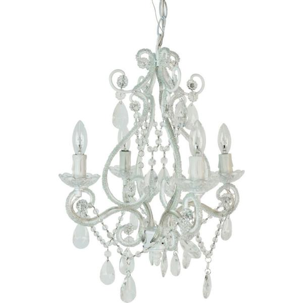 4-Light White Mini Chandelier