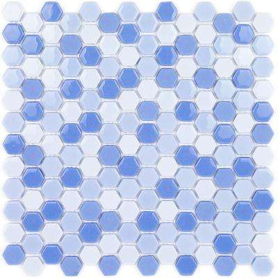 Recoup Hexagon Azure 11 5 In X 12 6 Mm Gl Mosaic Floor