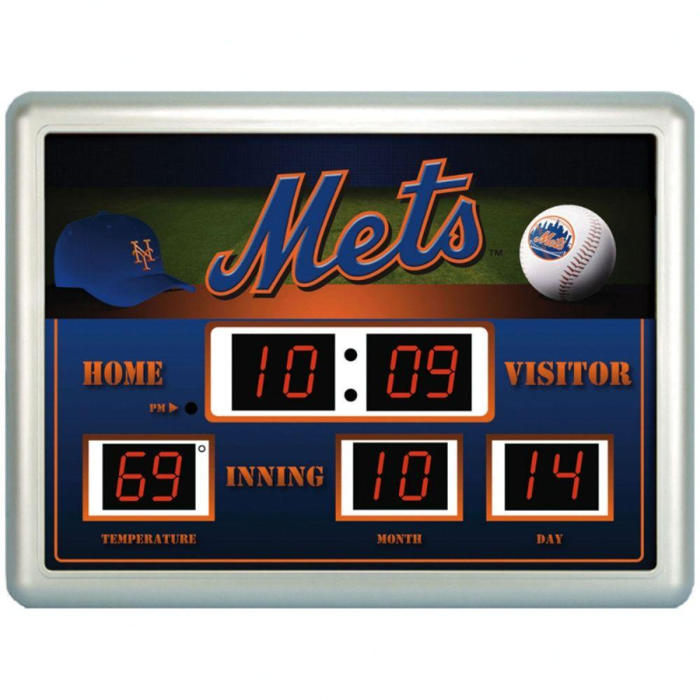 null New York Mets 14 in. x 19 in. Scoreboard Clock with Temperature