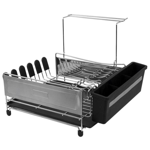 Home Basics Black and Silver Standing Dish Rack DD41653