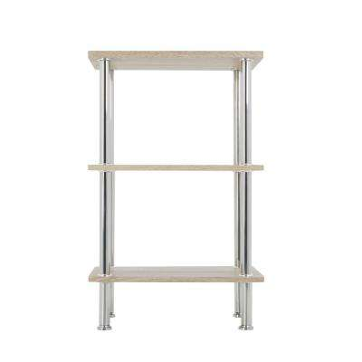 Whitewashed Oak and Chrome Small 3-Tier Shelving Unit