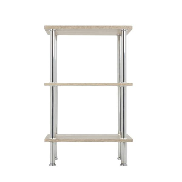AVF Whitewashed Oak and Chrome Small 3-Tier Shelving Unit