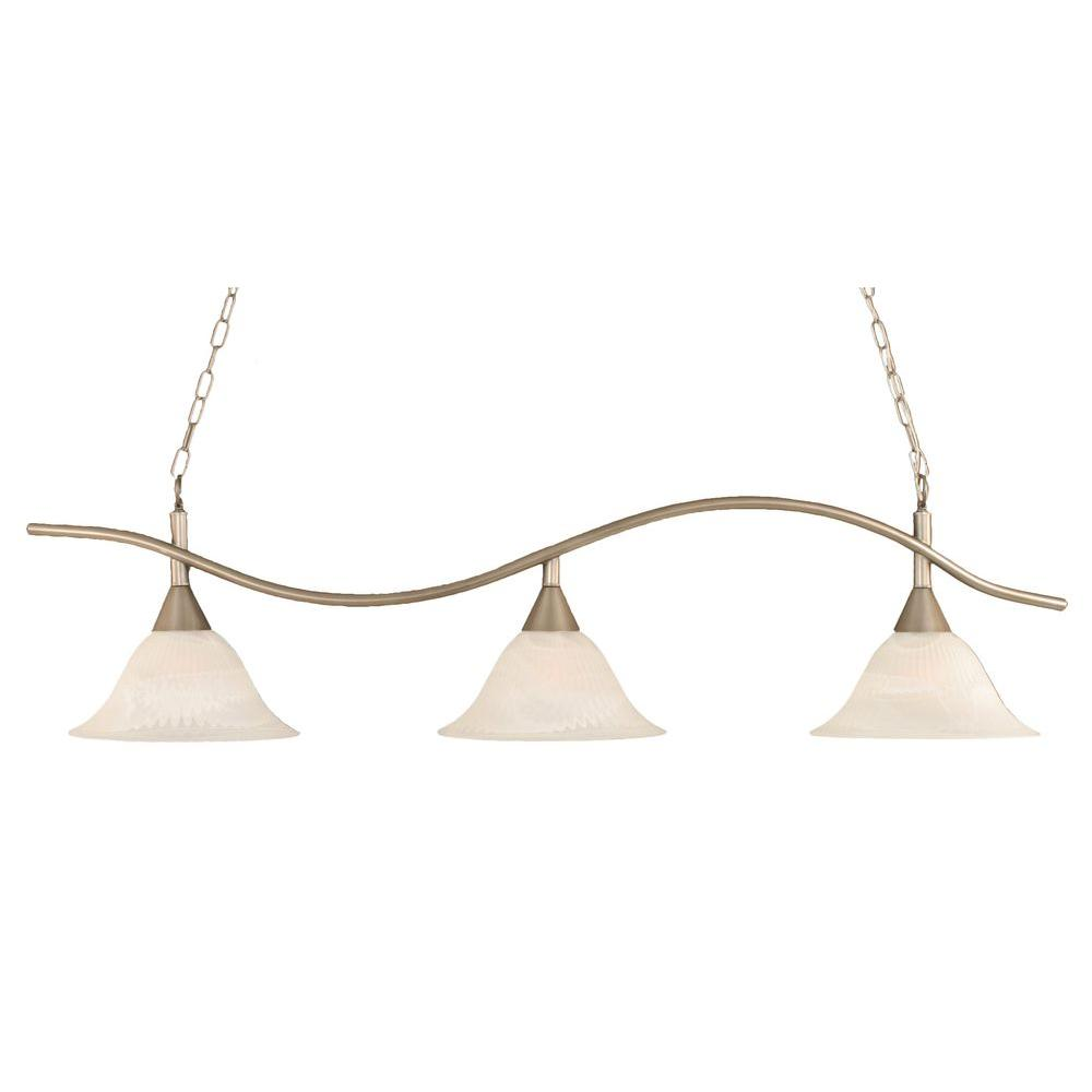 Filament Design Concord 3-Light Brushed Nickel Incandescent Ceiling Island Pendant
