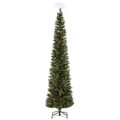 9 ft. Hard Mixed Needle Cashmere Pencil Artificial Christmas Tree with 250 Clear Lights