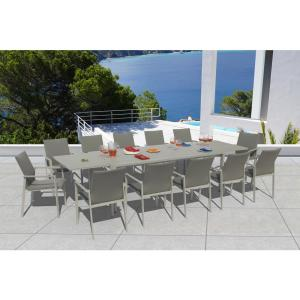 Ritz Grey Seagull 13-Piece Aluminum Outdoor Dining Set with Sling Set in Ash Grey