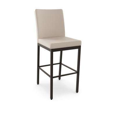Perry 26 in. Textured Dark Brown Metal Beige Polyurethane Counter Stool