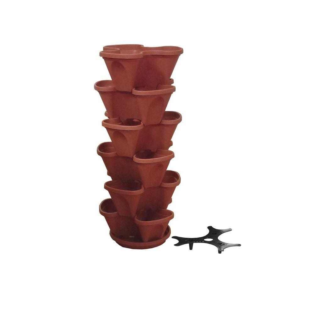 12 in. Terracotta Stacking Plastic Planter Set (6-Pack)