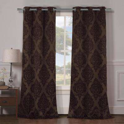 Catalina 38 in. x 84 in. L Polyester Blackout Curtain Panel in Chocolate (2-Pack)
