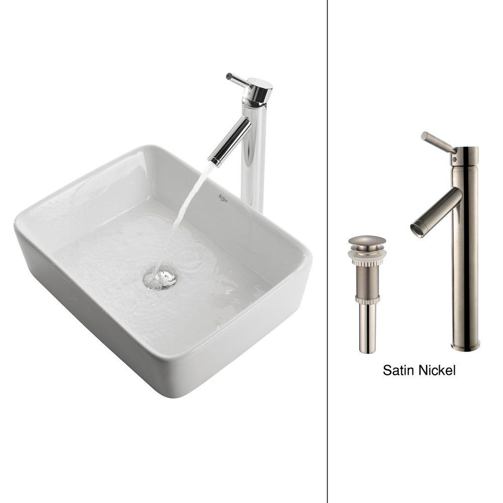 KRAUS Vessel Sink in White with Sheven Faucet in Satin Nickel