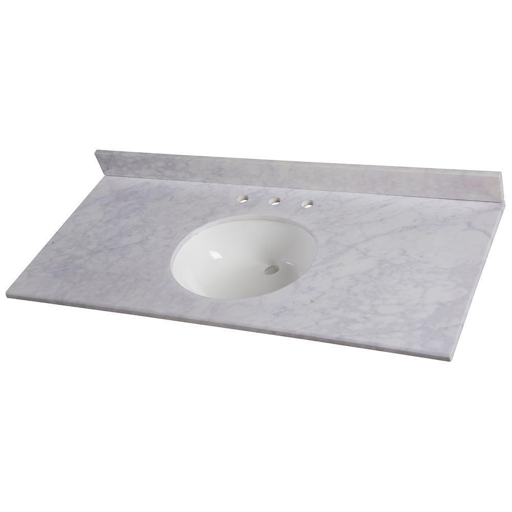 49 in. W Stone Effects Vanity Top in Carrera