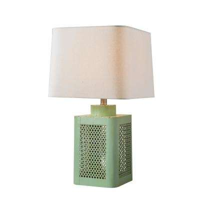 Convector 24 in. Antique Green Table Lamp with Natural Linen Shade