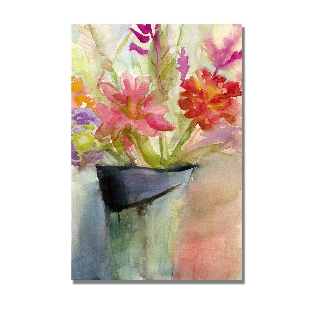 Trademark Fine Art 16 in. x 24 in. Zinnias in a Vase Canvas Art-DISCONTINUED