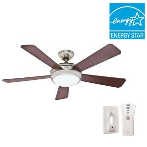 Click here to buy Hunter Palermo 52 inch Indoor Brushed Nickel Ceiling Fan with Remote by Hunter.