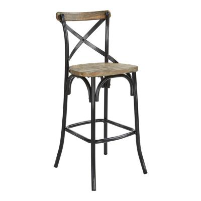 Somerset 30 in. Antique Black Bar Stool with Back
