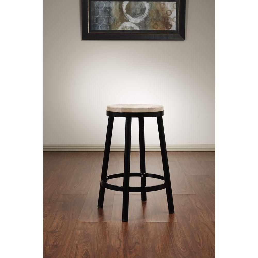Bristow 26.25 in. Black Bar Stool