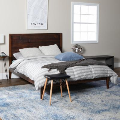 Plank Distressed Mahogany Queen Solid Wood Bed