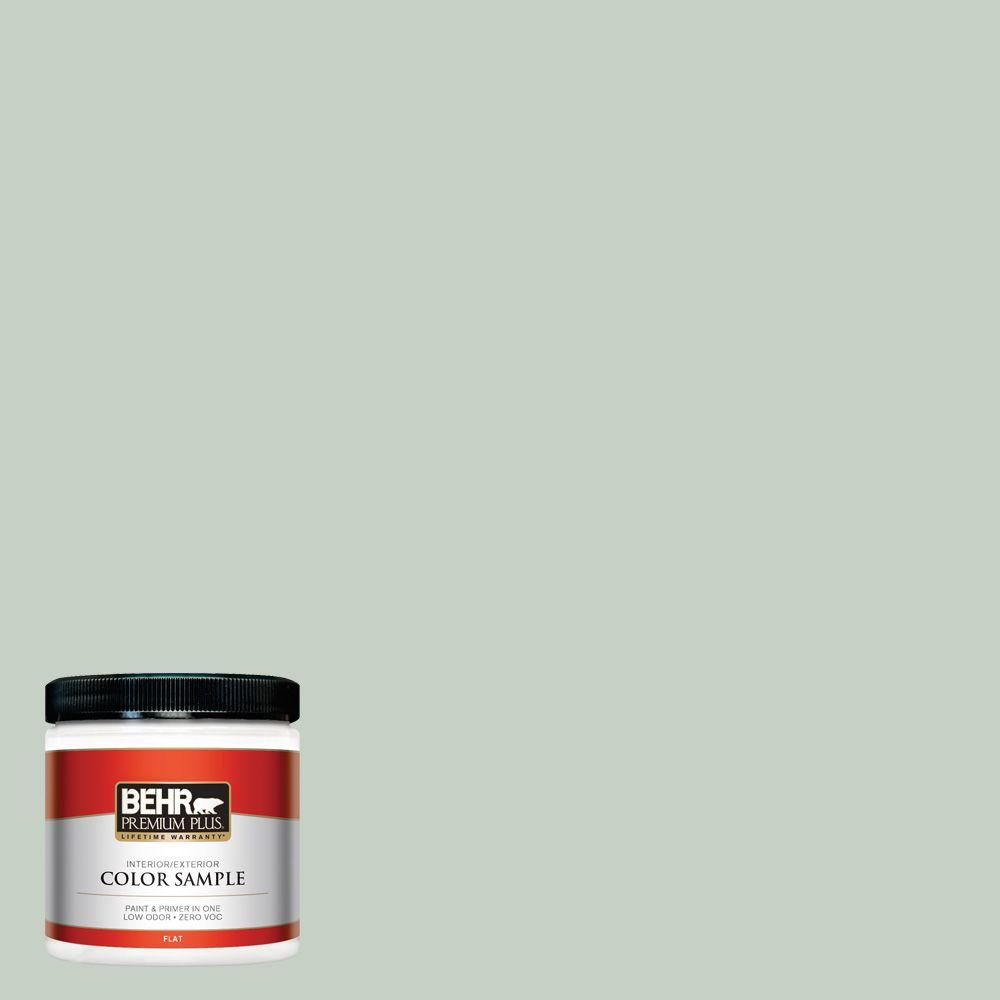 BEHR Premium Plus 8 oz. #N400-2 Frosted Sage Flat Interior/Exterior Paint and Primer in One Sample