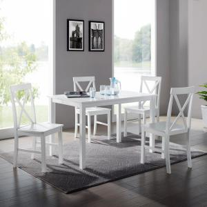 Welwick Designs 5-Piece White Solid Wood Farmhouse Dining ...