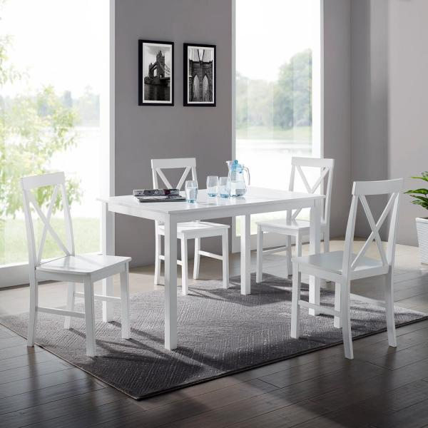 Welwick Designs 5-Piece White Solid Wood Farmhouse Dining Set HD8094