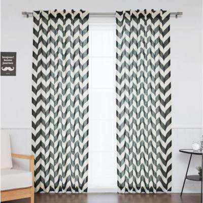 96 in. L Black Faux Linen Chevron Curtain (2-Pack)