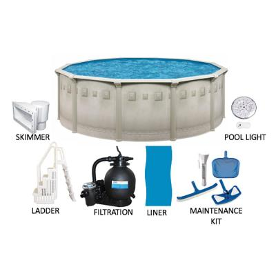 Palisades 21 ft. Round 52 in. Deep Hard Side Metal Wall Above Ground Pool Package with Entry Step System