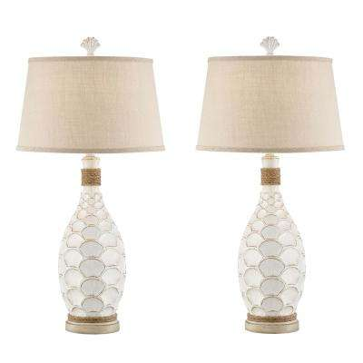 33 in. Antique White Indoor Table Lamp Set