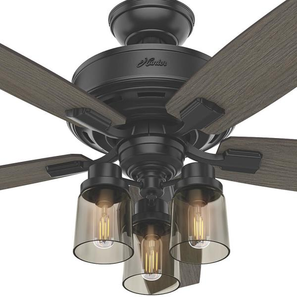 Hunter Bennett 52 In Led Indoor Matte Black Ceiling Fan With 3 Light Kit And Handheld Remote Control 54189 The Home Depot