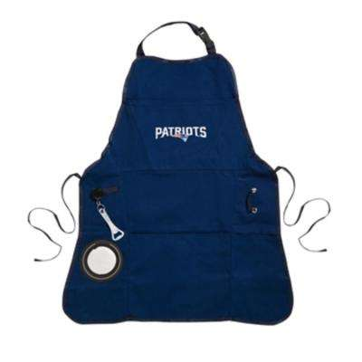 New England Patriots NFL 24 in. x 31 in. Cotton Canvas 5-Pocket Grilling Apron with Bottle Holder