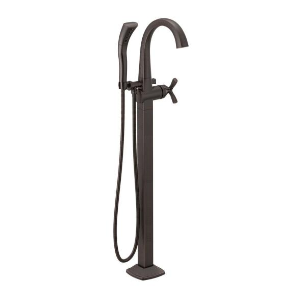 Stryke 1-Handle Floor Mount Tub Filler Trim Kit in Venetian Bronze with Hand Shower (Valve Not Included)