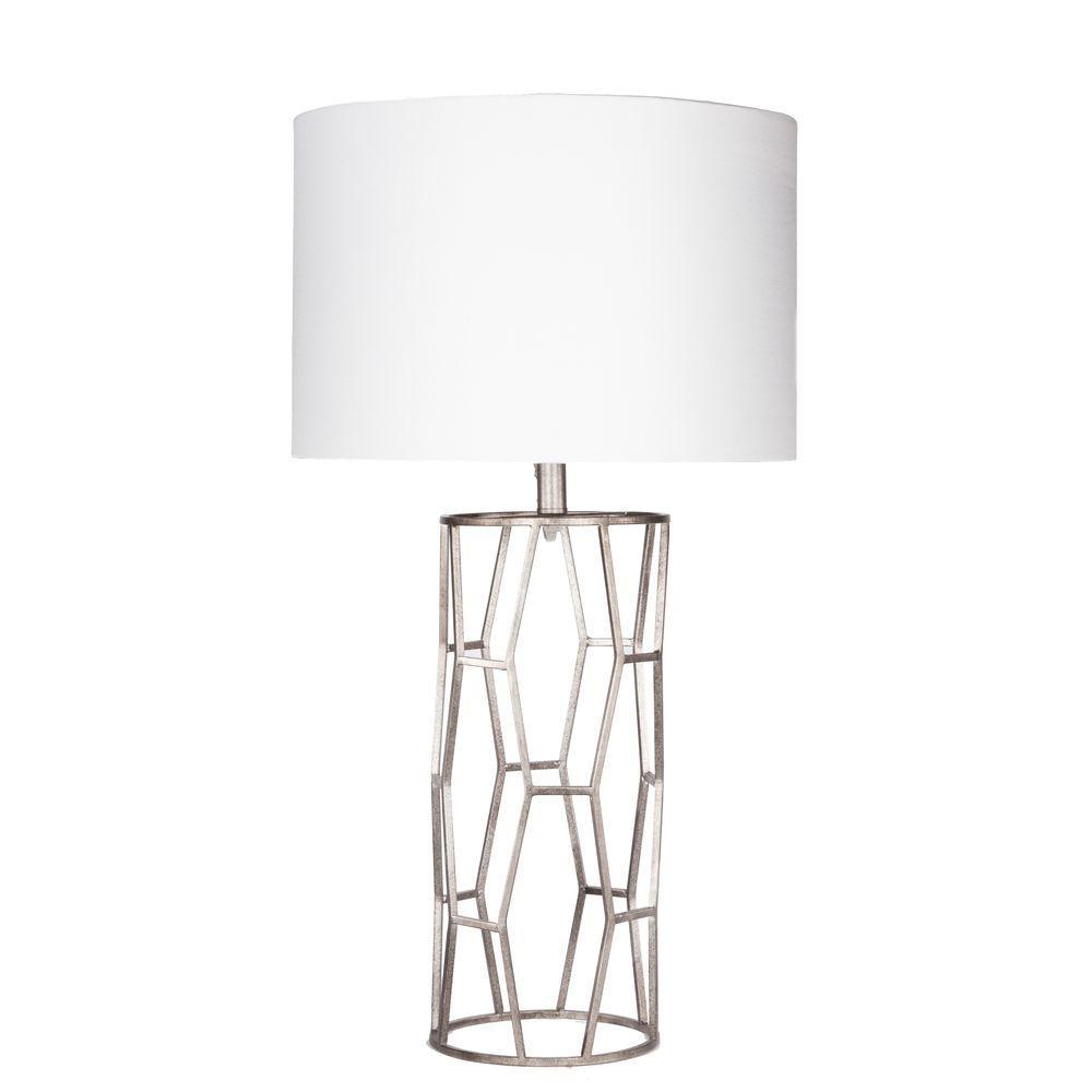 Cerletti 29 in. Antiqued Silvertone Indoor Table Lamp