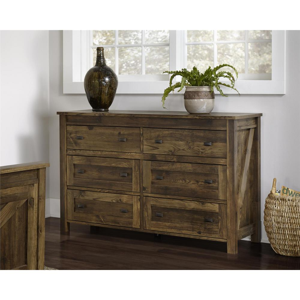 Altra Furniture Farmington 6 Drawer Century Barn Pine Dresser