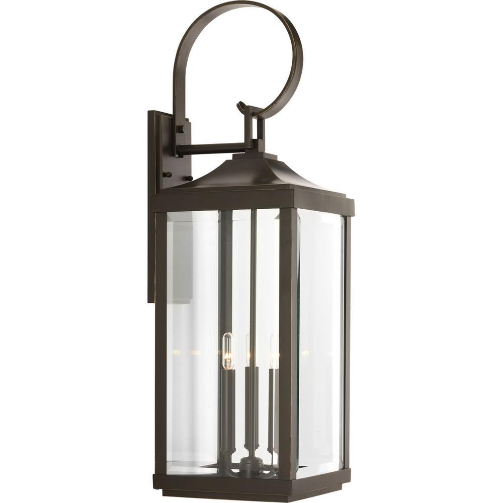 Progress Lighting Gibbes Street Collection 3 Light Antique Bronze Outdoor Wall Lantern
