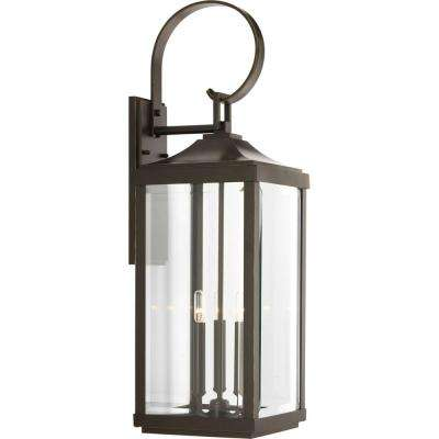 Gibbes Street Collection 3-Light Antique Bronze 30.6 in. Outdoor Wall Lantern