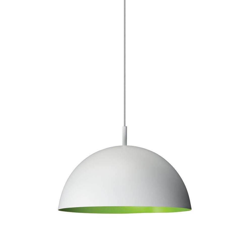 Philips Wall Hanging Lights : Philips Domo 1-Light White with Green Hanging Pendant-402283348 - The Home Depot