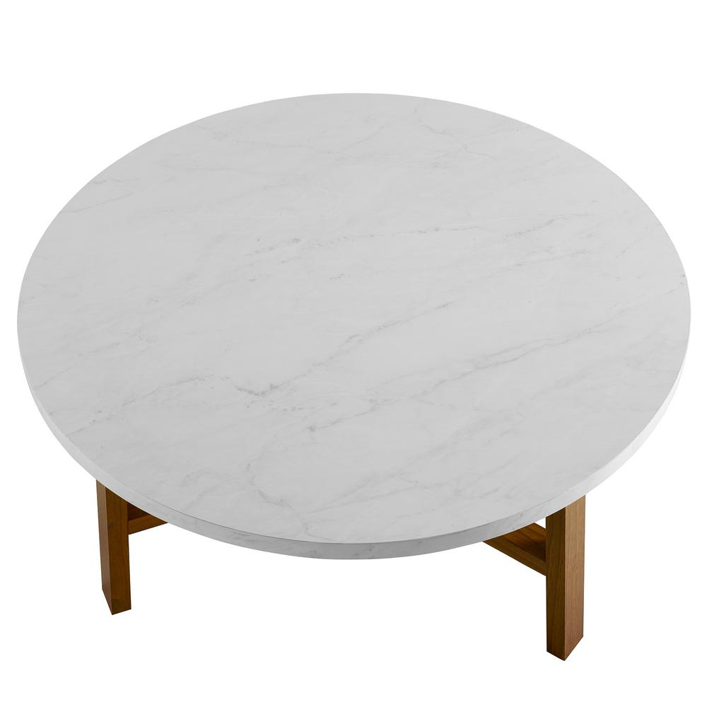 Walker Edison Furniture Company 30 In White Marble And Acorn Round Coffee Table