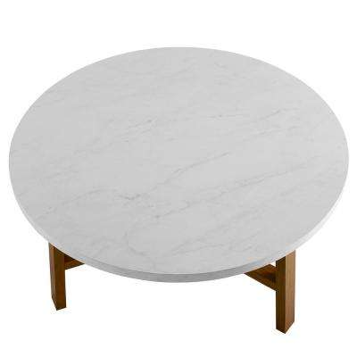 30 in. White Marble and Acorn Round Coffee Table