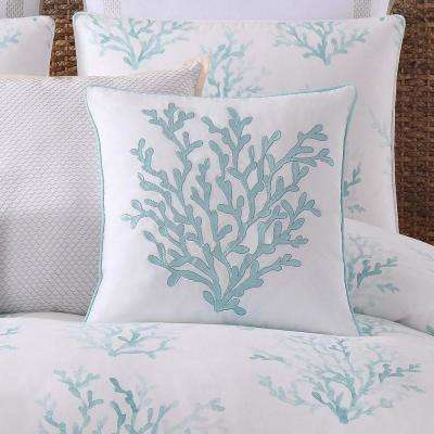 Cove Square Pillow in White and Blue