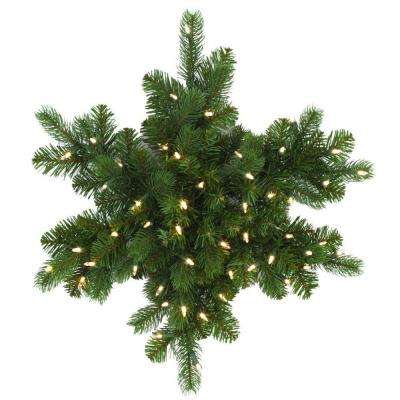 24 in. LED Pre-Lit Downswept Douglas Fir Snowflake Artificial Christmas Wreath