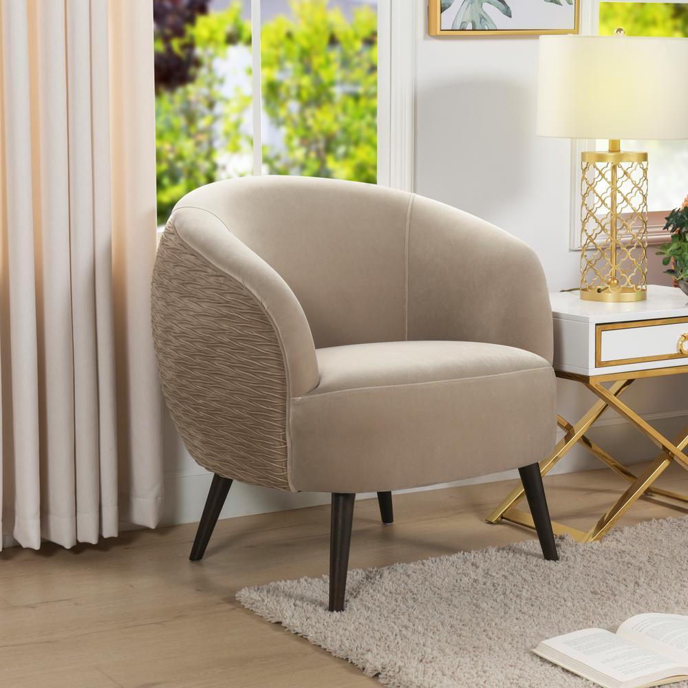 London Mid-Century Modern Ruched Barrel Chair, Mink