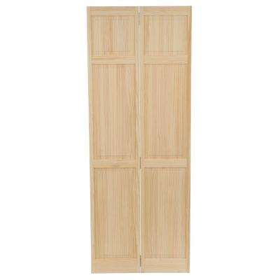 24 in. Clear 6-Panel Solid Core Unfinished Wood Interior Closet Bi-fold Door